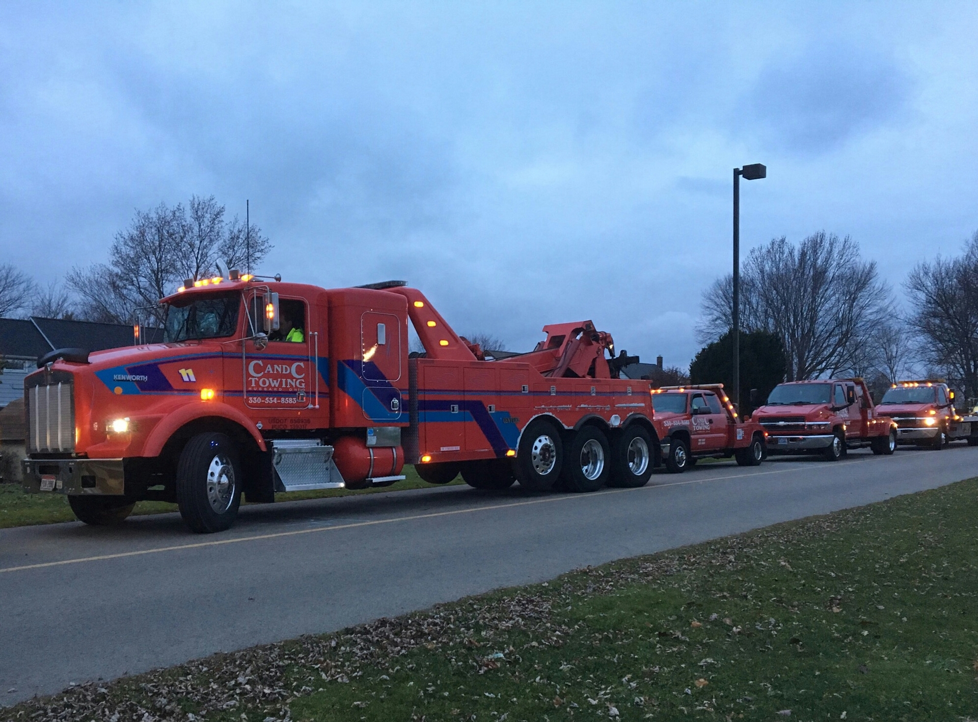 four of our trucks at Hubbard Christmas parade